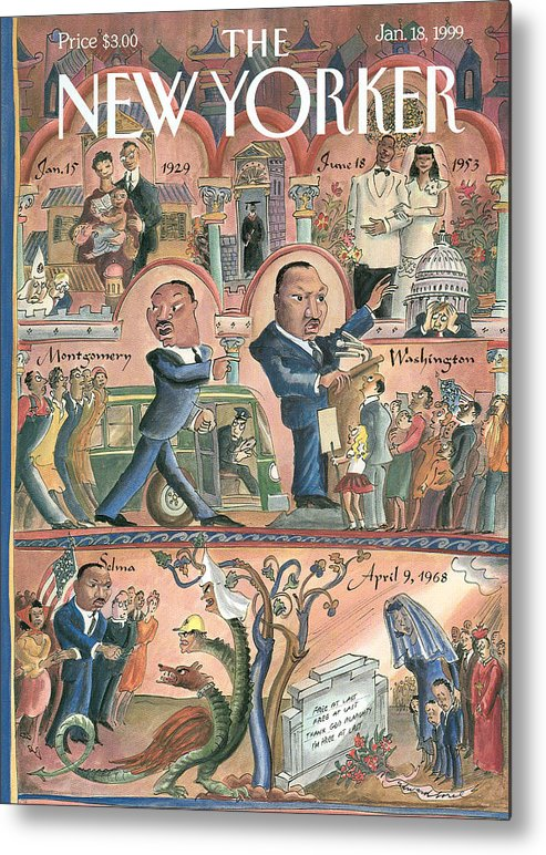 The Life Of Martin Luther King Metal Print featuring the painting New Yorker January 18th, 1999 by Edward Sorel