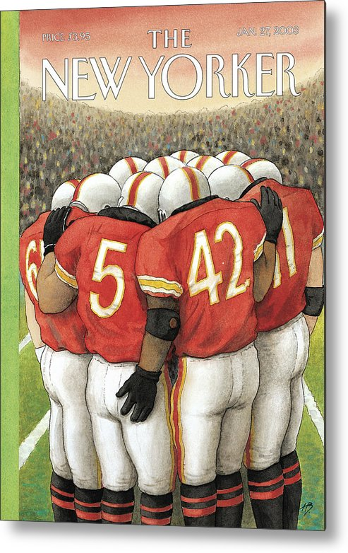 Football Sports Team Players Gay Homosexual Super Bowl Male Men Arena Stadium Harry Bliss Hbl Hbl Artkey 65962 Metal Print featuring the painting New Yorker January 27th, 2003 by Harry Bliss