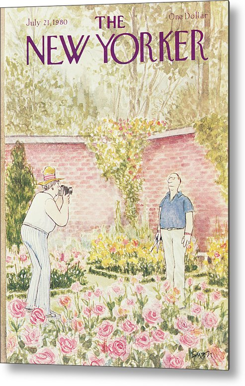 (woman Takes Photograph Of Her Gardener Husband Standing In Front Of His Flower Beds.) Leisure Hobbies Gardening Age Old Retirement Nature Gardens Roses Relationships Marriage  Charles Saxon Csa Artkey 46212 Metal Print featuring the painting New Yorker July 21st, 1980 by Charles Saxon