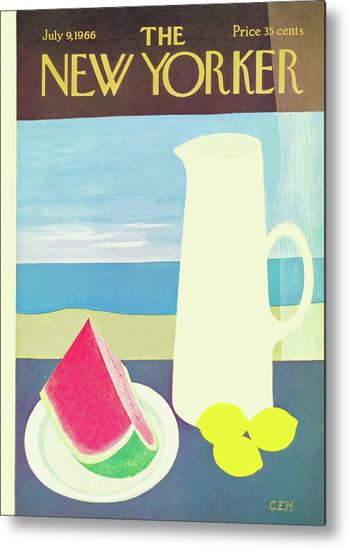 (an Image Of A Pitcher With Lemons Beside It Metal Print featuring the painting New Yorker July 9th, 1966 by Charles E. Martin