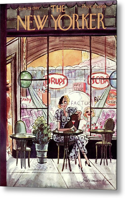 (a Woman Has A Drink And Smokes A Cigarette At A Table Outside An Old Fashioned Drug & Soda Fountain Store.) Dining Drinking Addictions Fitness Barbara Shermund Artkey 46843 Metal Print featuring the painting New Yorker June 29th, 1935 by Barbara Shermund