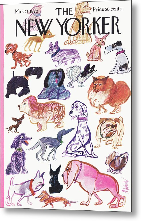 Animals Metal Print featuring the painting New Yorker March 21st, 1970 by Kenneth Mahood