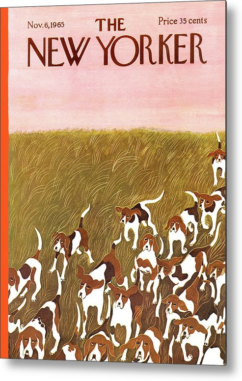 Hound Metal Print featuring the painting New Yorker November 6th, 1965 by Ilonka Karasz