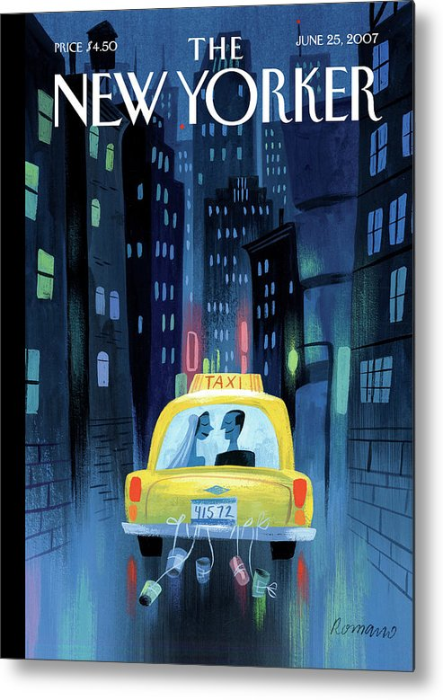 Taxi Cab Wedding Marriage Couple Cans City Urban Night Metal Print featuring the painting Newlywed Couple In A Taxi by Lou Romano
