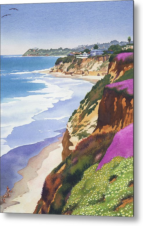 North County Metal Print featuring the painting North County Coastline by Mary Helmreich