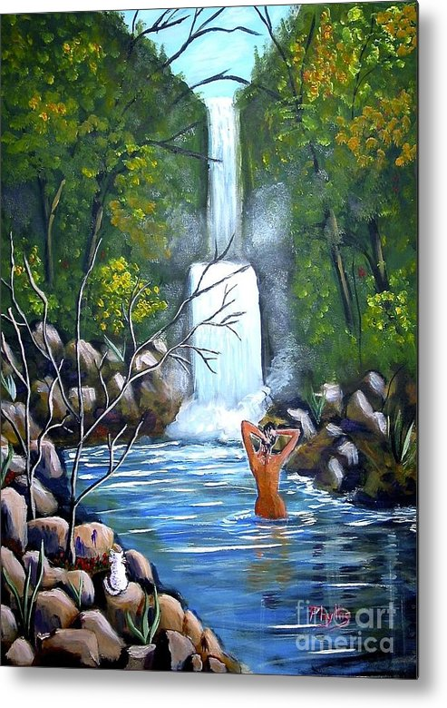Waterfall Metal Print featuring the painting Nymph In Pool by Phyllis Kaltenbach