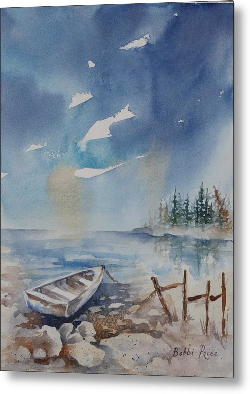 Seascape Metal Print featuring the painting On The Rocks by Bobbi Price