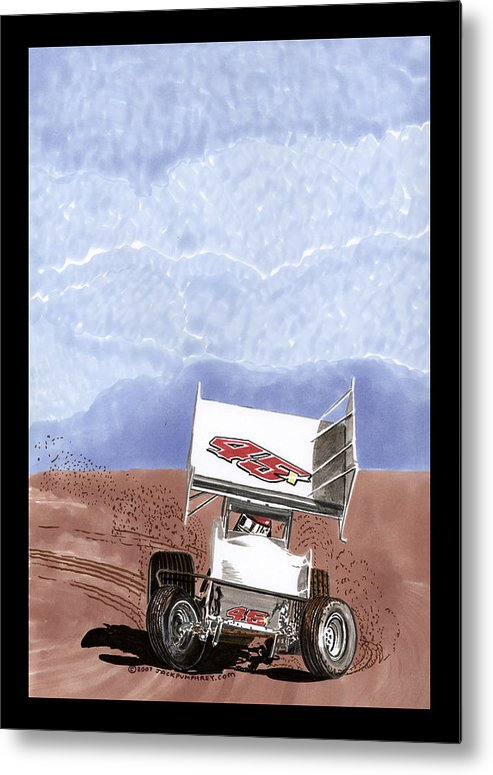 Car Art Metal Print featuring the painting Outlaw Race Car by Jack Pumphrey