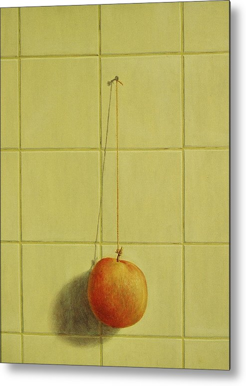 Still Life Metal Print featuring the painting Peach Pendulum by Raul Vargas