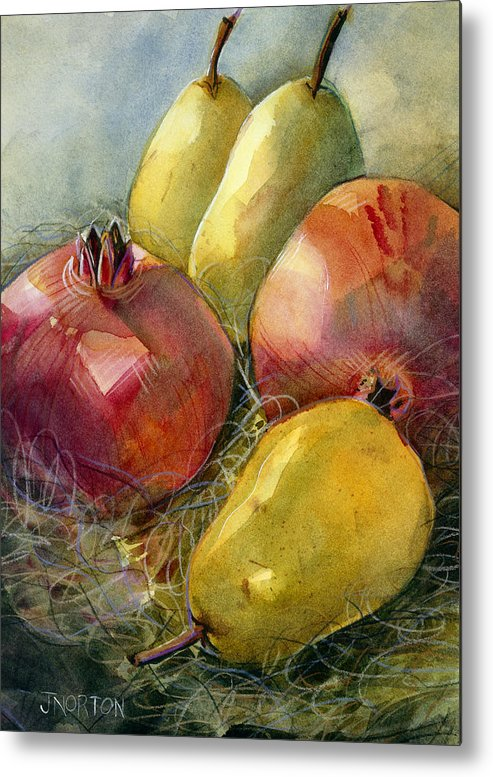 Jen Norton Metal Print featuring the painting Pomegranates And Pears by Jen Norton