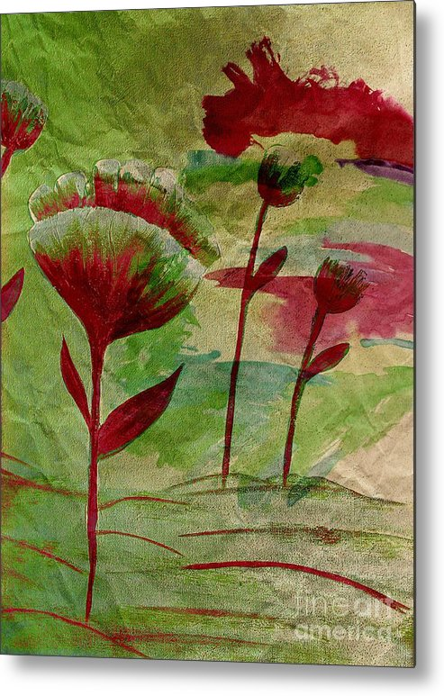 Poppies Abstract Metal Print featuring the painting Poppies Abstract 3 by Barbara Griffin