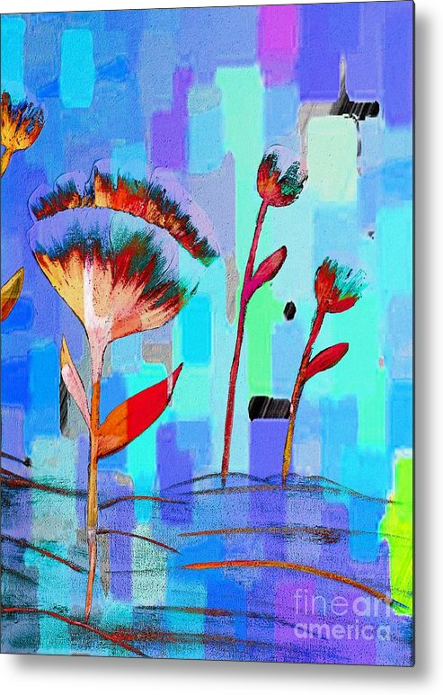 Poppies On Blue 3 Metal Print featuring the painting Poppies On Blue 3 by Barbara Griffin