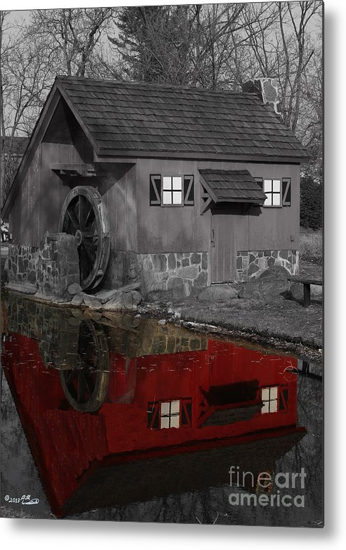 Colorkey Metal Print featuring the photograph Reflection Of Red Mill by Bill Woodstock