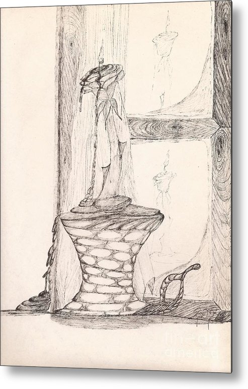 Pen And Ink Metal Print featuring the drawing Reflections... by Robert Meszaros