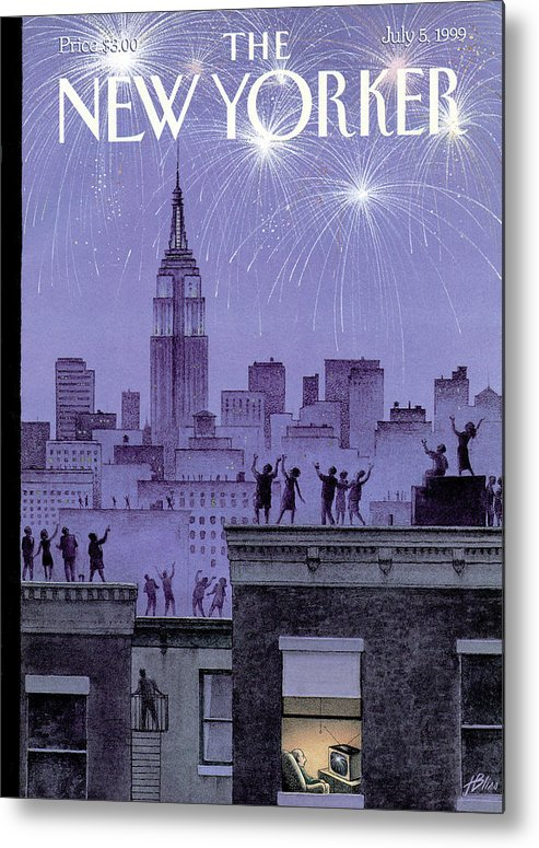 Harry Bliss Hbl Metal Print featuring the painting Rooftop Revelers Celebrate New Year's Eve by Harry Bliss