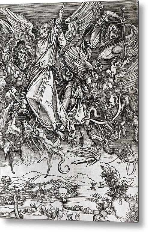 Saint Michel Metal Print featuring the drawing Saint Michael And The Dragon by Albrecht Durer or Duerer