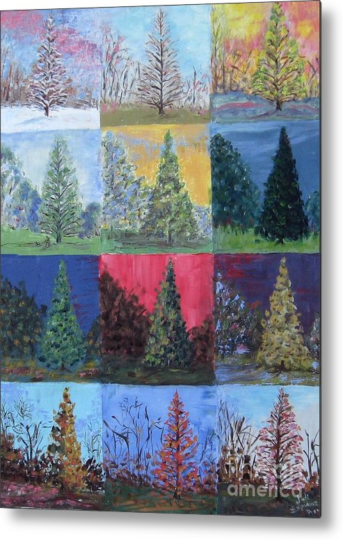 Trees With Different Backgrounds Metal Print featuring the painting Seasons Of A Dawn Redwood - Sold by Judith Espinoza
