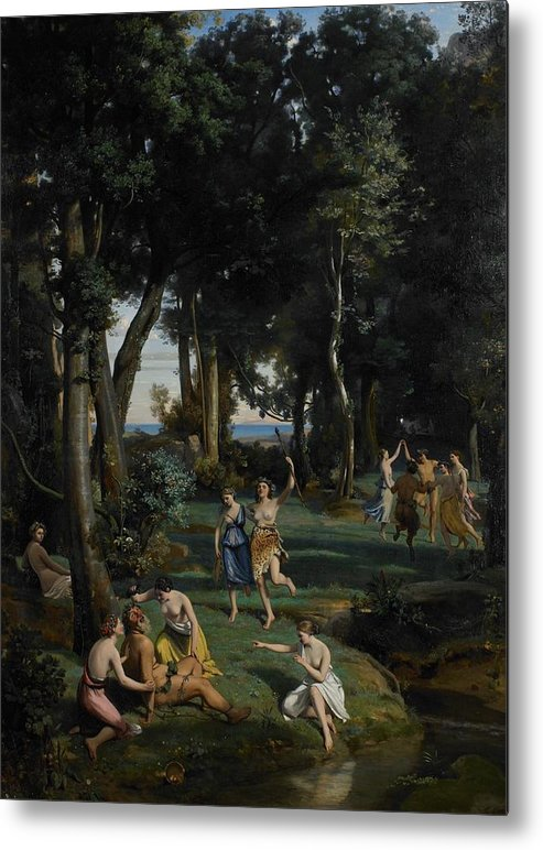 God; Goddess; Goddesses; Landscape; Idyllic; Stream; Idyll; Courting; Courtship; Mythological; Ancient Metal Print featuring the painting Silenus by Jean Baptiste Camille Corot