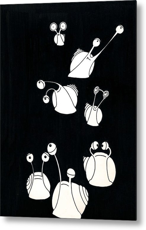 Snail Metal Print featuring the drawing Snails by Olga Zsuzsanna Petrovits