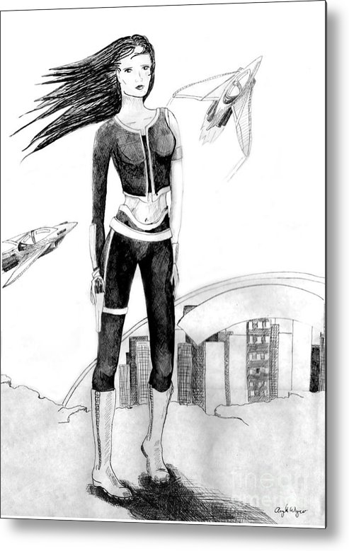 Science Fiction Metal Print featuring the drawing Space Girl 5000 by Angela Bingham