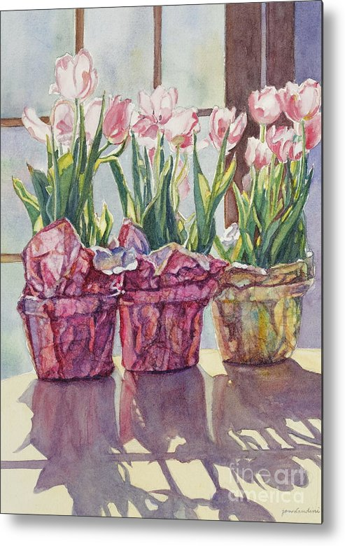 Tulips In Pots Metal Print featuring the painting Spring Shadows by Jan Landini