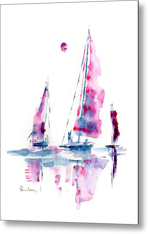 Abstract Metal Print featuring the painting Sun And Sails by Paul K Taylor
