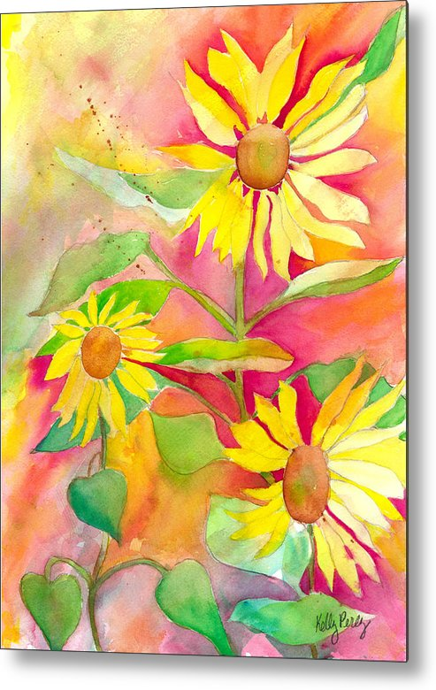 Watercolor Painting Metal Print featuring the painting Sunflower by Kelly Perez