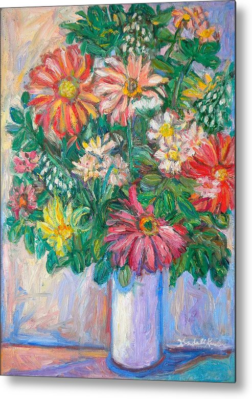 Still Life Metal Print featuring the painting The White Vase by Kendall Kessler