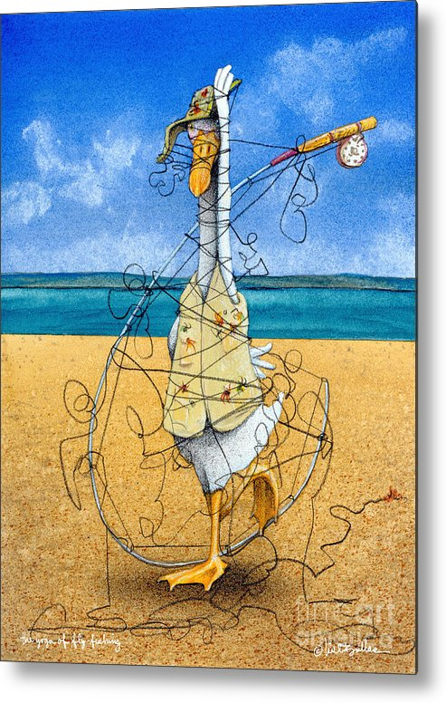 Will Bullas Metal Print featuring the painting The Yoga Of Fly Fishing... by Will Bullas