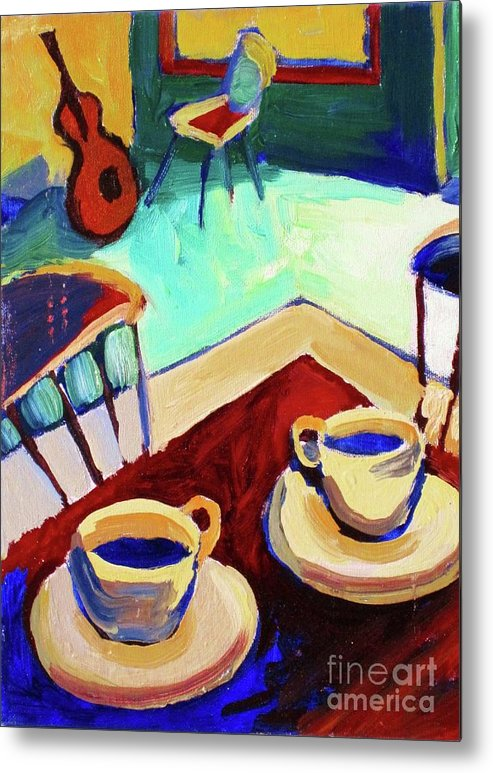 Frederick Luff Metal Print featuring the painting Twilight Coffee Cafe by Frederick Luff
