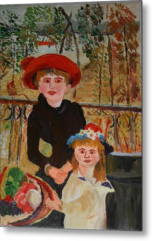 Sisters Metal Print featuring the painting Two Sisters On The Terrace by Goldy Berry Rod