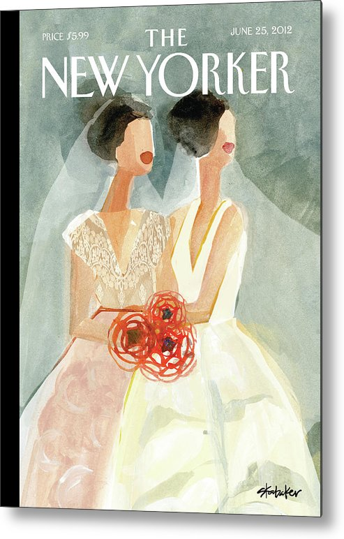 June Brides Metal Print featuring the painting June Brides by Gayle Kabaker