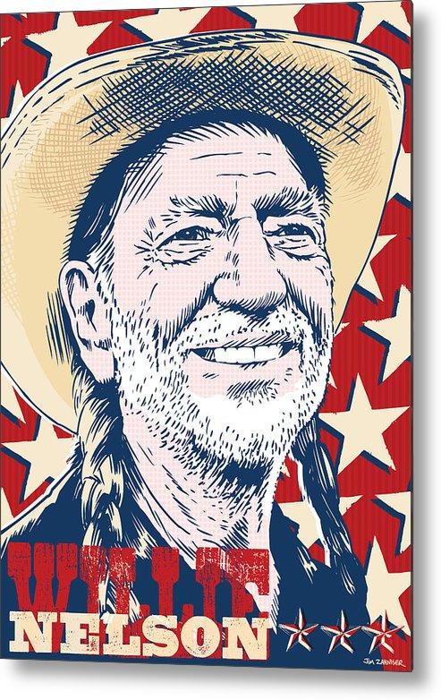 Music Metal Print featuring the digital art Willie Nelson Pop Art by Jim Zahniser