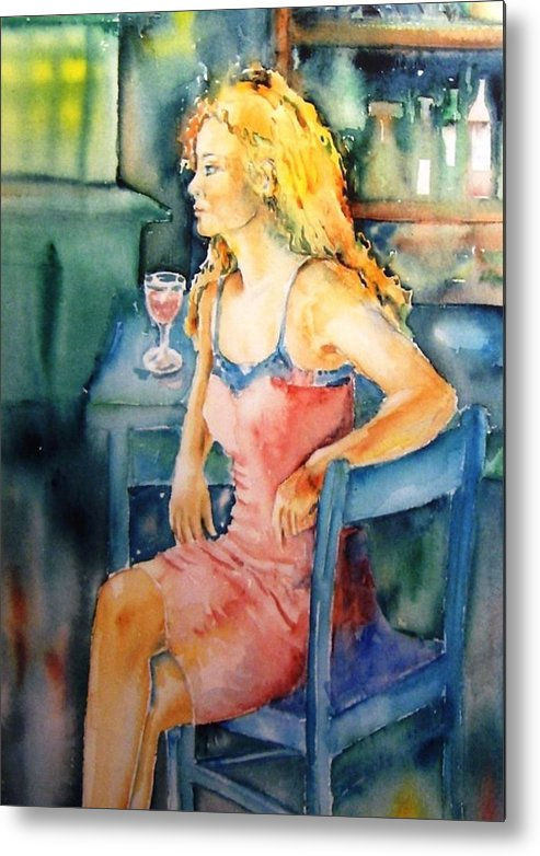 Woman Metal Print featuring the painting Woman Waiting by Trudi Doyle