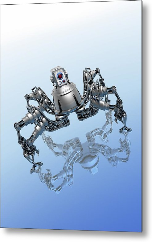 Vertical Metal Print featuring the digital art Microrobot, Conceptual Artwork by Victor Habbick Visions