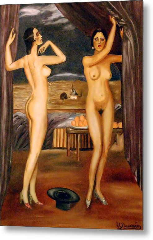 Nudes Metal Print featuring the painting My Rivalry by Jose Luis Villagran Ortiz