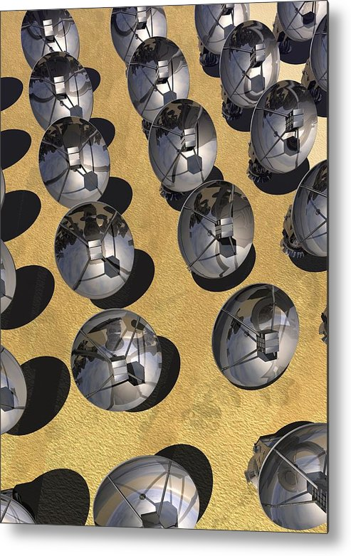Vertical Metal Print featuring the digital art Satellite Array, Artwork by Victor Habbick Visions