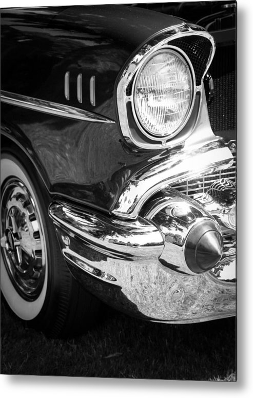 Black And White Metal Print featuring the photograph 57 Chevy Black by Steve McKinzie