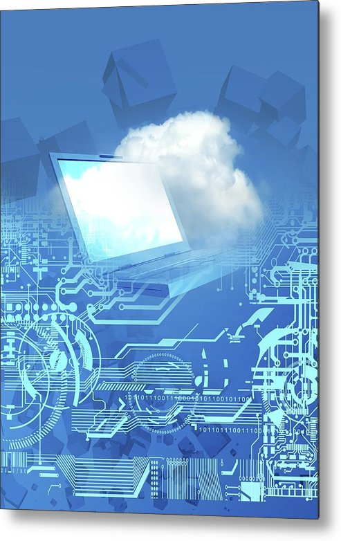 Vertical Metal Print featuring the digital art Cloud Computing, Conceptual Artwork by Victor Habbick Visions
