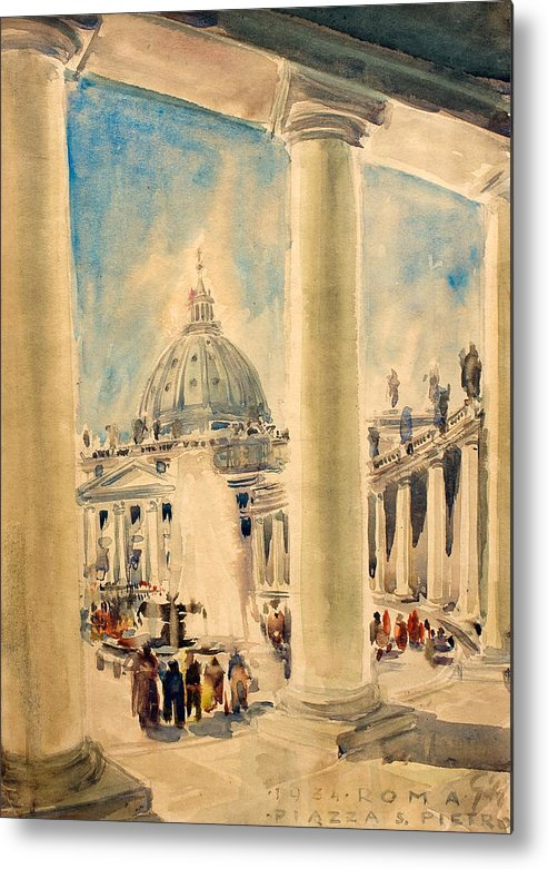 Crease Metal Print featuring the painting Basilica In Italy by Odon Czintos