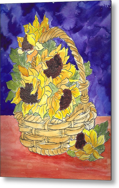 Sunflowers Metal Print featuring the painting Basket Of Sunflowers by Theresa Jones
