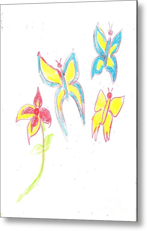 Spring Metal Print featuring the drawing Butterflies by Alida Cardo