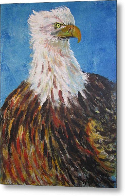 Eagle Bird Animal Wildlife Nature Metal Print featuring the painting Courage by Julia Rita Theriault