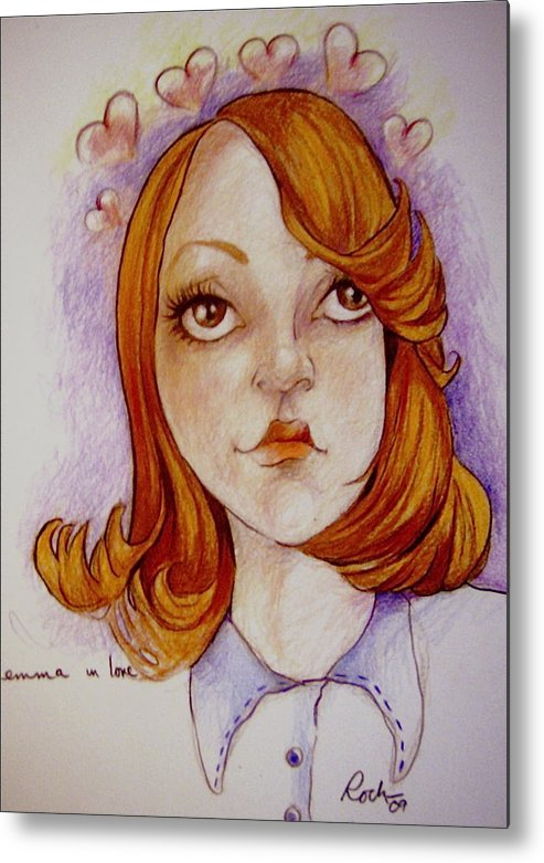 Glee Emma Love Hearts Metal Print featuring the drawing Emma In Love by Jackie Rock