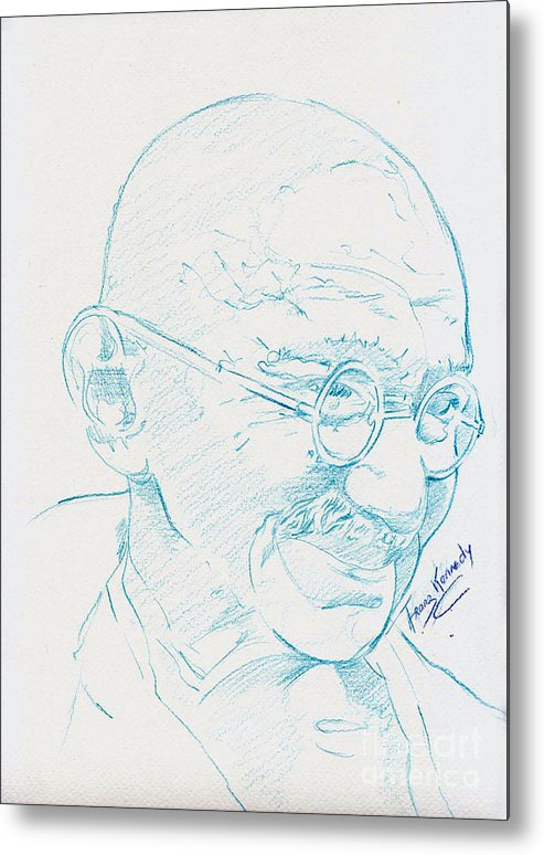 Ghandi Metal Print featuring the drawing Ghandi by Kennedy Franz