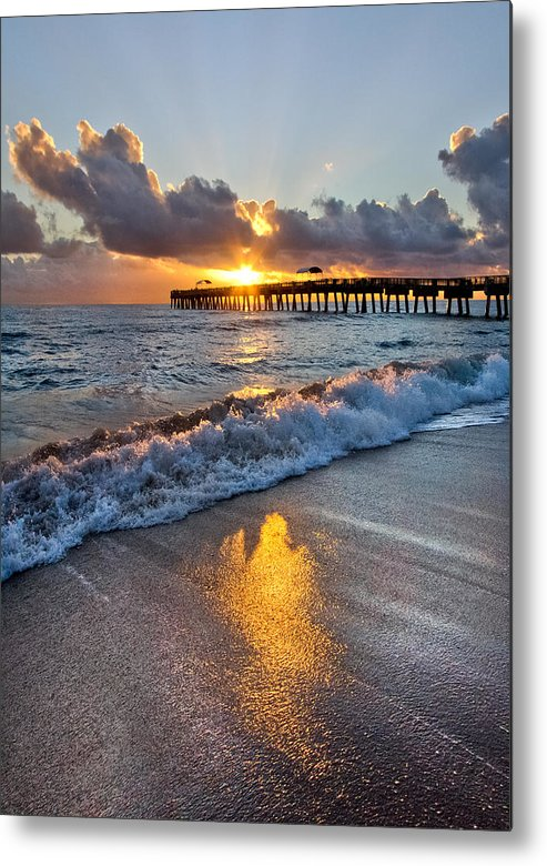 Clouds Metal Print featuring the photograph Golden Shadows by Debra and Dave Vanderlaan