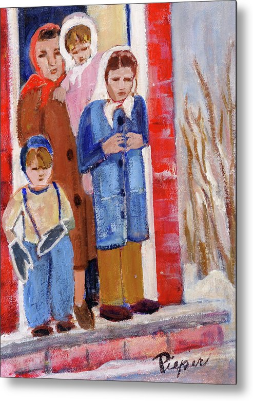 Grandma And Three Children In Doorway Metal Print featuring the painting Goodbye Grandma We Have To Go To California Now by Elzbieta Zemaitis