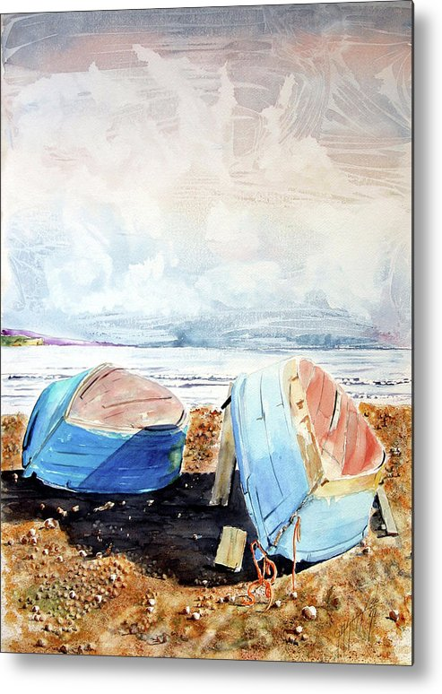 Watercolor Metal Print featuring the painting In Secca Sulla Spiaggia by Giovanni Marco Sassu
