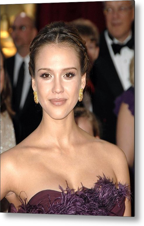 Part 2 - Red Carpet - 80th Annual Academy Awards Oscars Ceremony Metal Print featuring the photograph Jessica Alba Wearing Cartier Earrings by Everett