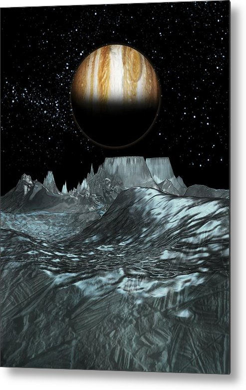 Vertical Metal Print featuring the digital art Jupiter From Europa, Artwork by Victor Habbick Visions